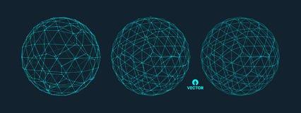 Esfera con las líneas conectadas Conexiones digitales globales Ejemplo de Wireframe Diseño abstracto de la rejilla 3D ilustración del vector