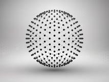 Esfera con los puntos halftone Concepto de la conexión Fondo de la tecnología Foto de archivo libre de regalías