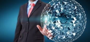 Esfera conmovedora del extracto del vuelo del hombre de negocios con el cubo brillante 3D r Imagen de archivo