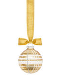 Esfera a cuadros de oro de la Navidad Fotografía de archivo libre de regalías