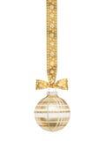 Esfera a cuadros de oro de la Navidad Fotos de archivo