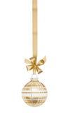 Esfera a cuadros de oro de la Navidad Foto de archivo