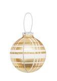 Esfera a cuadros de oro de la Navidad Imágenes de archivo libres de regalías