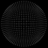 esfera 3D, bordes y puntos Ejemplo de la esfera diseño de la rejilla 3D en estilo de la tecnología Rejilla abstracta del globo re Foto de archivo