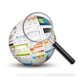 esfera 3D con las impresiones de la plantilla del diseño web Foto de archivo
