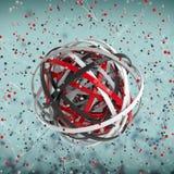 esfera 3d de anéis coloridos na nuvem das gotas coloridos Imagens de Stock Royalty Free