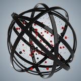 esfera 3d de anéis coloridos na nuvem das gotas coloridos Foto de Stock Royalty Free