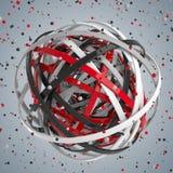 esfera 3d de anillos multicolores en nube de descensos multicolores Fotografía de archivo