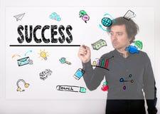 Esfera 3d diferente Escrita do homem de negócios com o marcador preto no visual Imagens de Stock Royalty Free