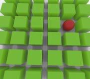 esfera 3D entre los cubos Imagen de archivo