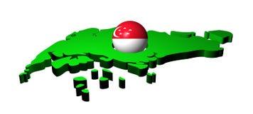 Esfera da bandeira de Singapore com mapa ilustração royalty free