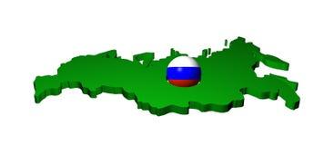 Esfera da bandeira do russo com mapa Foto de Stock Royalty Free