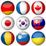 A esfera da bandeira nacional ajustou 3 ilustração stock