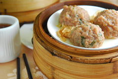 Esfera da carne de Dim Sum Fotos de Stock Royalty Free