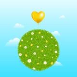 Esfera da grama com balão amarelo. Vetor Imagens de Stock Royalty Free