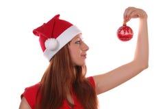 Esfera da menina e do Natal imagem de stock royalty free