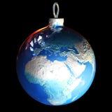 Esfera da terra do Natal Imagens de Stock Royalty Free