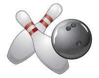 Esfera de bowling com dois pinos Foto de Stock Royalty Free