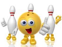 Esfera de bowling e figura da mascote do pino 3d Fotos de Stock