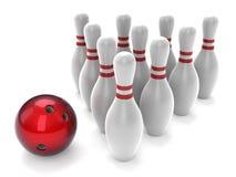Esfera de bowling e skittles Foto de Stock Royalty Free