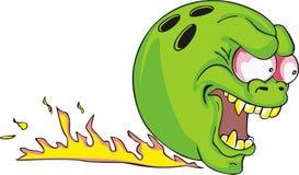 Esfera de bowling verde com flama ilustração stock