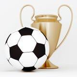 Esfera de bronze do copo e de futebol Fotos de Stock