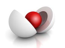 Esfera de centro roja del concepto abstracto del negocio stock de ilustración