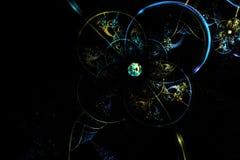 Esfera de cristal azul fantástica del fractal abstracto en espacio Imágenes de archivo libres de regalías