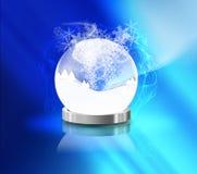 Esfera de cristal e neve Fotos de Stock Royalty Free