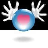 Esfera de cristal futura do amor nas mãos Foto de Stock Royalty Free