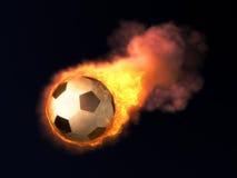 Esfera de futebol ardente Imagem de Stock Royalty Free