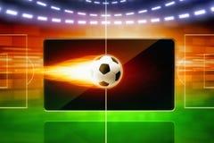 Esfera de futebol ardente Imagens de Stock