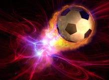 Esfera de futebol ardente Fotografia de Stock Royalty Free