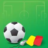 Esfera de futebol, assobio e cartões vermelhos e amarelos Fotos de Stock Royalty Free