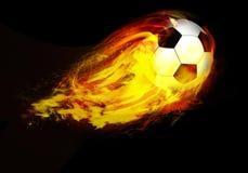 Esfera de futebol através das flamas Imagem de Stock Royalty Free
