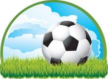 Esfera de futebol com as nuvens na grama Fotografia de Stock