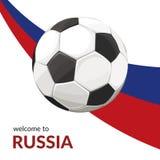 Esfera de futebol com bandeira ilustração stock