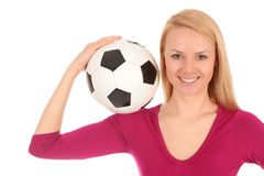 Esfera de futebol da terra arrendada da mulher Imagens de Stock