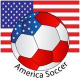 Esfera de futebol de América com bandeira ilustração royalty free