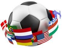 esfera de futebol do mundo 3d. Fotos de Stock Royalty Free