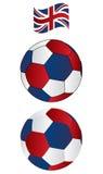 Esfera de futebol do Reino Unido com bandeira do vôo Imagem de Stock Royalty Free