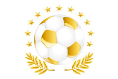 Esfera de futebol dourada Foto de Stock Royalty Free