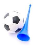 Esfera de futebol e chifre de Vuvuzela Fotografia de Stock Royalty Free