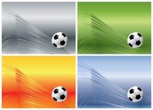 Esfera de futebol em fundos abstratos Fotografia de Stock