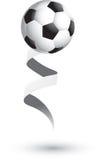 Esfera de futebol em uma fita Imagens de Stock Royalty Free