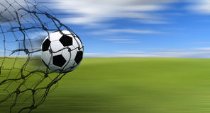 Esfera de futebol em uma rede ilustração royalty free