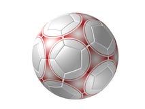 Esfera de futebol isolada, vermelho Imagem de Stock Royalty Free