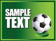 Esfera de futebol na bandeira de intervalo mínimo verde Fotografia de Stock Royalty Free