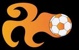 Esfera de futebol na flama em um fundo preto ilustração royalty free