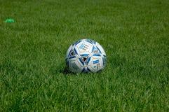 Esfera de futebol na grama Fotografia de Stock Royalty Free